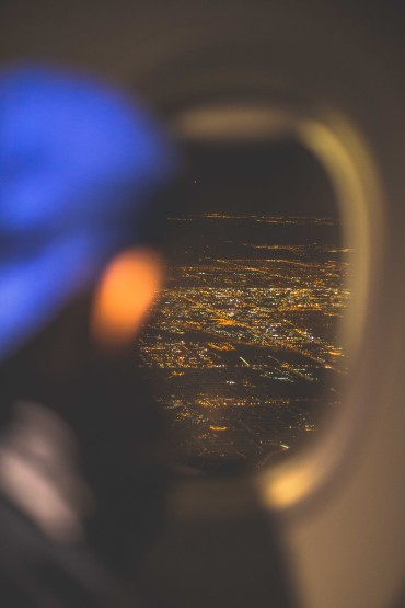 city lights from the airplane
